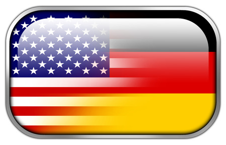 wiretapping: USA and Germany Flag rectangle glossy button