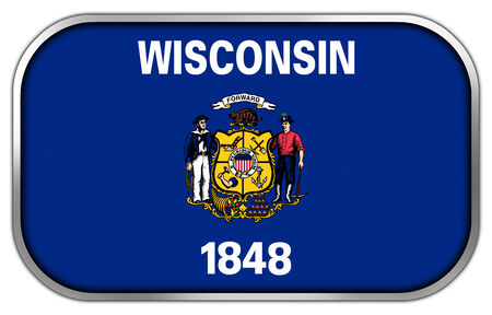 wisconsin state: Wisconsin State Flag rectangle glossy button