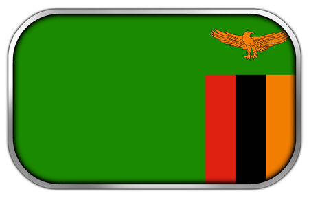 rectangle button: Zambia Flag rectangle glossy button
