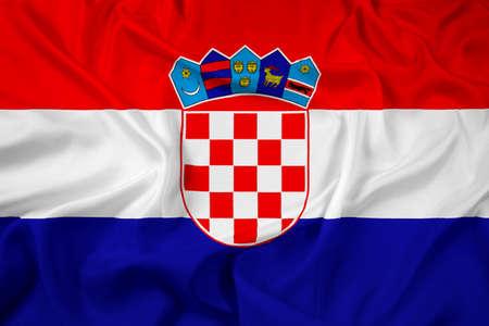 bandiera croazia: Waving Flag Croazia Archivio Fotografico