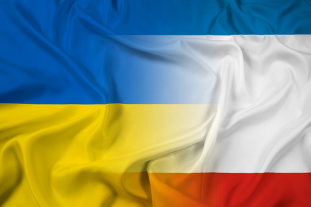 Waving Autonomous Republic of Crimea and Ukraine Flag photo