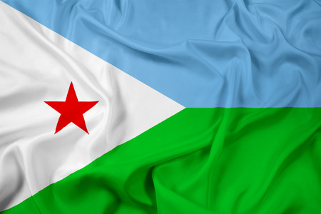 djibouti: Waving Djibouti Flag Stock Photo