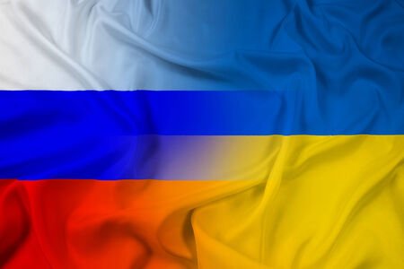 Waving Ukraine and Russia Flag photo
