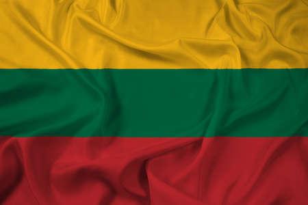 lithuania: Waving Lithuania Flag Stock Photo