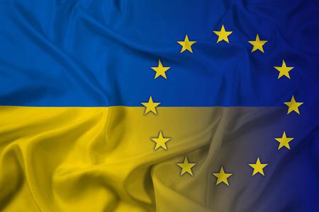 maidan: Waving Ukraine and EU Flag Stock Photo
