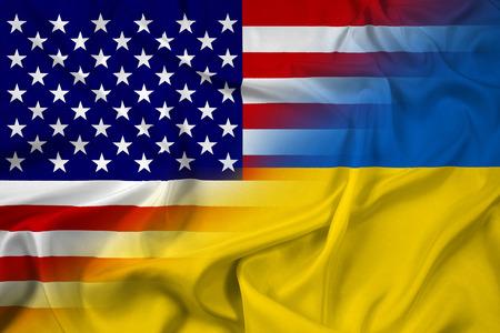 unification: Waving Ukraine and USA Flag Stock Photo