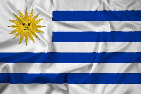 Uruguay flag: Waving Flag Uruguay Foto de archivo
