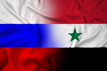 Waving Russia and Syria Flag photo