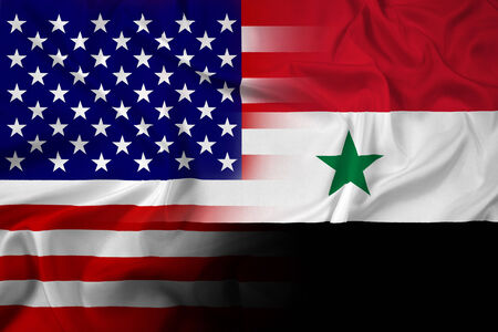Waving USA and Syria Flag photo