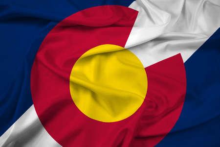 flag of colorado: Waving Colorado State Flag Stock Photo