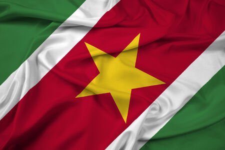 suriname: Waving Suriname Flag Stock Photo