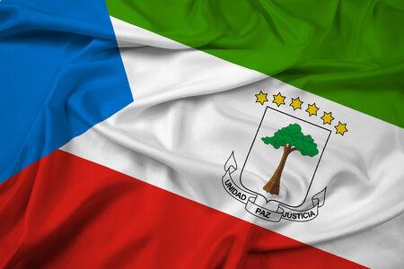 equatorial: Waving Equatorial Guinea Flag Stock Photo