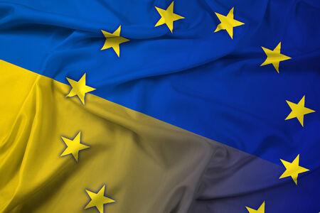 unification: Waving Ukraine and EU Flag Stock Photo