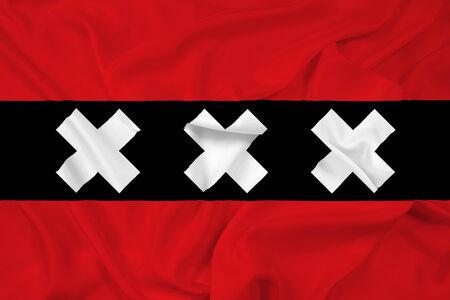 Waving Amsterdam City Flag photo