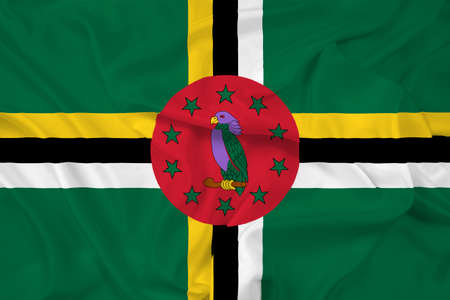 dominica: Waving Dominica Flag Stock Photo
