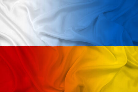 Waving Poland and Ukraine Flag photo