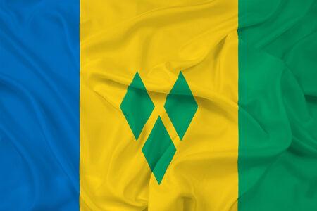 grenadines: Waving Saint Vincent and The Grenadines Flag