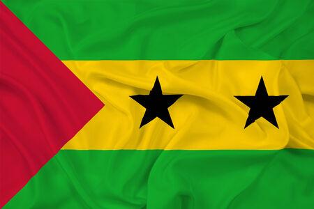 tome: Waving Sao Tome and Principe Flag Stock Photo