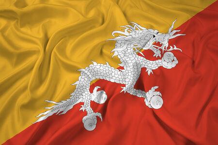 bhutan: Waving Bhutan Flag