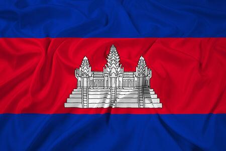 cambodia: Waving Cambodia Flag Stock Photo