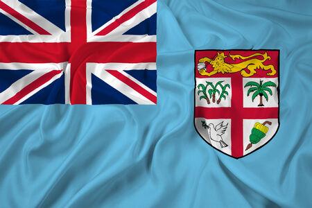 fiji: Waving Fiji Flag Stock Photo