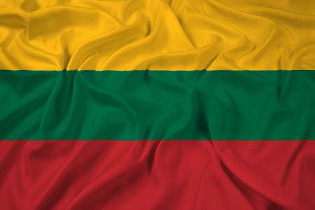 lithuania flag: Waving Lithuania Flag Stock Photo