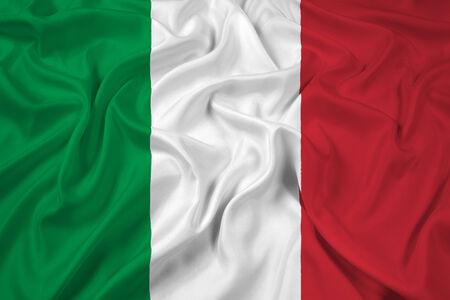 italy flag: Ondeando la bandera de Italia Foto de archivo