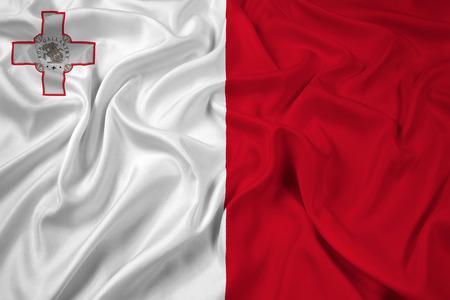 malta: Waving Malta Flag Stock Photo