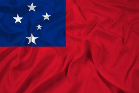samoa: Waving Samoa Flag Stock Photo