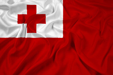 tonga: Waving Tonga Flag Stock Photo