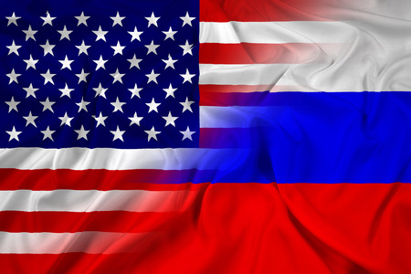 allied: Waving USA and Russia Flag Stock Photo