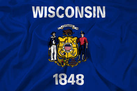 wisconsin state: Waving Wisconsin State Flag