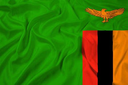 zambia flag: Waving Zambia Flag Stock Photo