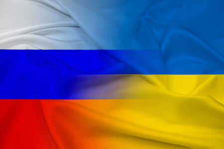 maidan: Waving Ukraine and Russia Flag