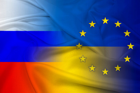 Waving Ukraine, EU and Russia Flag photo