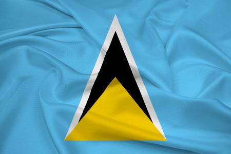 saint lucia: Waving Saint Lucia Flag Stock Photo