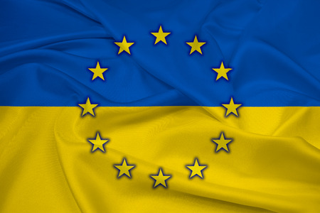 Waving Ukraine and EU Flag photo