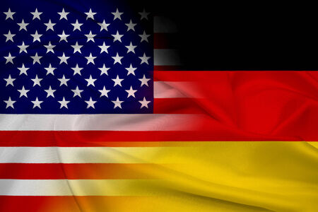 Waving USA and Germany Flag photo
