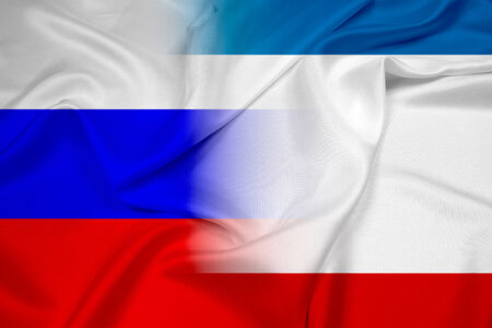 Waving Autonomous Republic of Crimea and Russia Flag photo