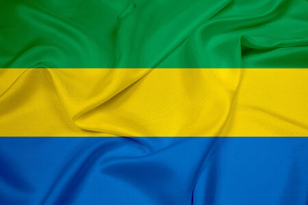 gabon: Waving Gabon Flag Stock Photo