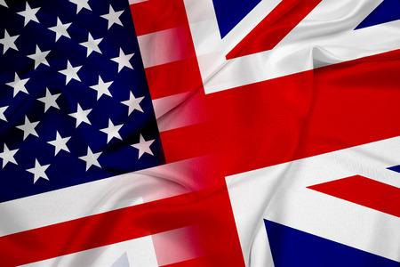 Waving USA and UK Flag photo