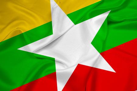 burmese: Waving Burma Flag