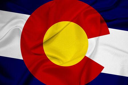 flag of colorado: Waving Colorado Flag Stock Photo