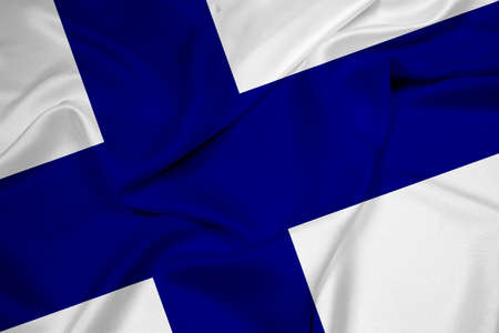 bandera de finlandia: Ondeando la bandera de Finlandia Foto de archivo