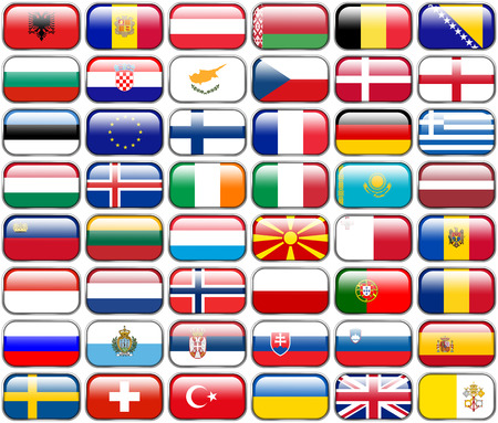 all european flags: All European Flags - rectangle glossy buttons  Every button is isolated on white background