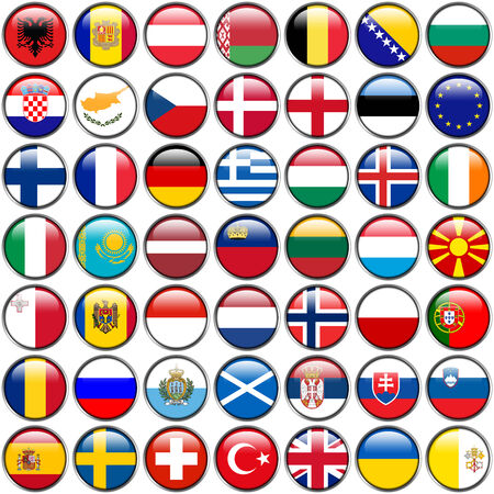 all european flags: All European Flags - circle glossy buttons. Every button is isolated on white background. Stock Photo