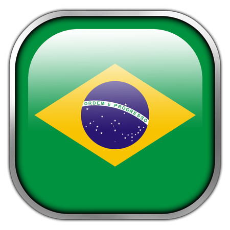 Brazil Flag square glossy button photo