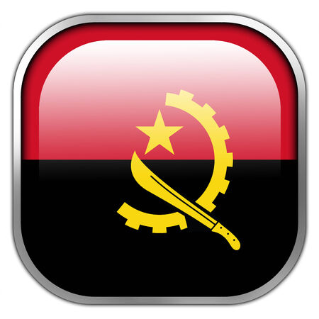 Angola Flag square glossy button photo