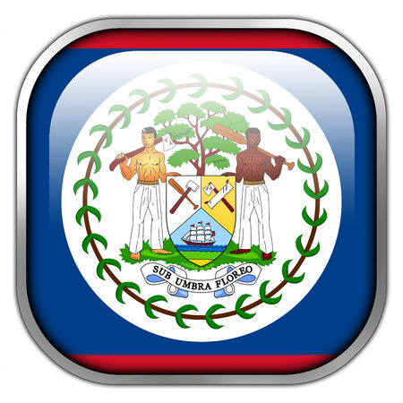 Belize Flag square glossy button photo