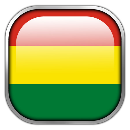 bandera de bolivia: Bot�n brillante cuadrado Bolivia Bandera